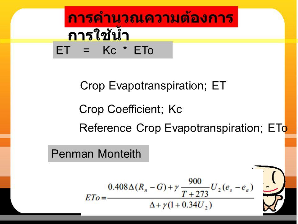 การคำนวณความต้องการ การใช้น้ำ Crop Evapotranspiration; ET Reference Crop Evapotranspiration; ETo Crop Coefficient; Kc Penman Monteith ET = Kc * ETo