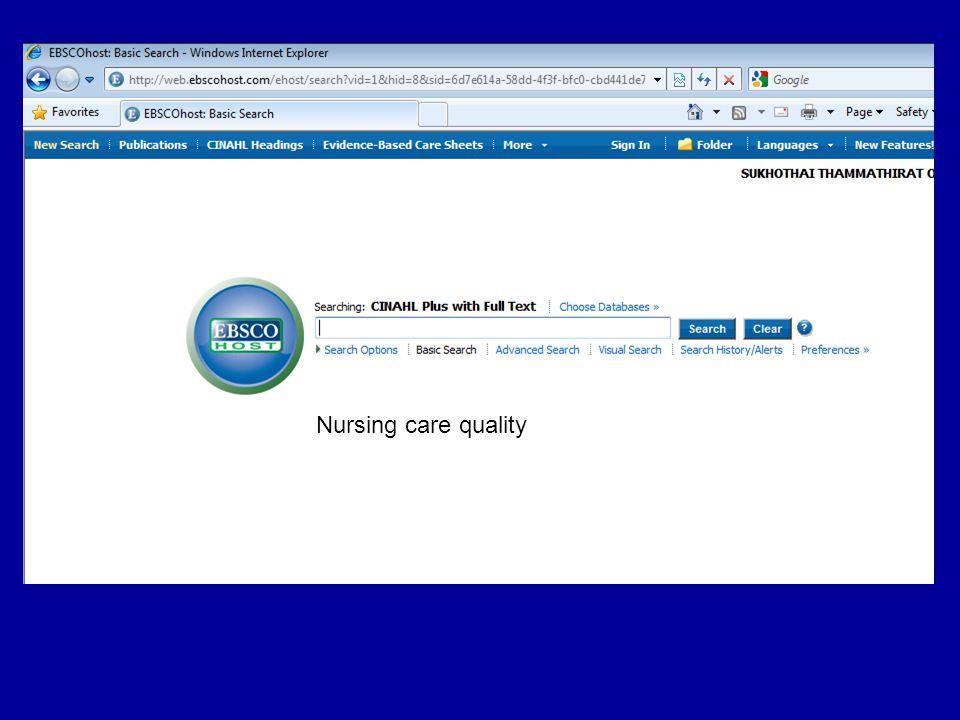 Nursing care quality