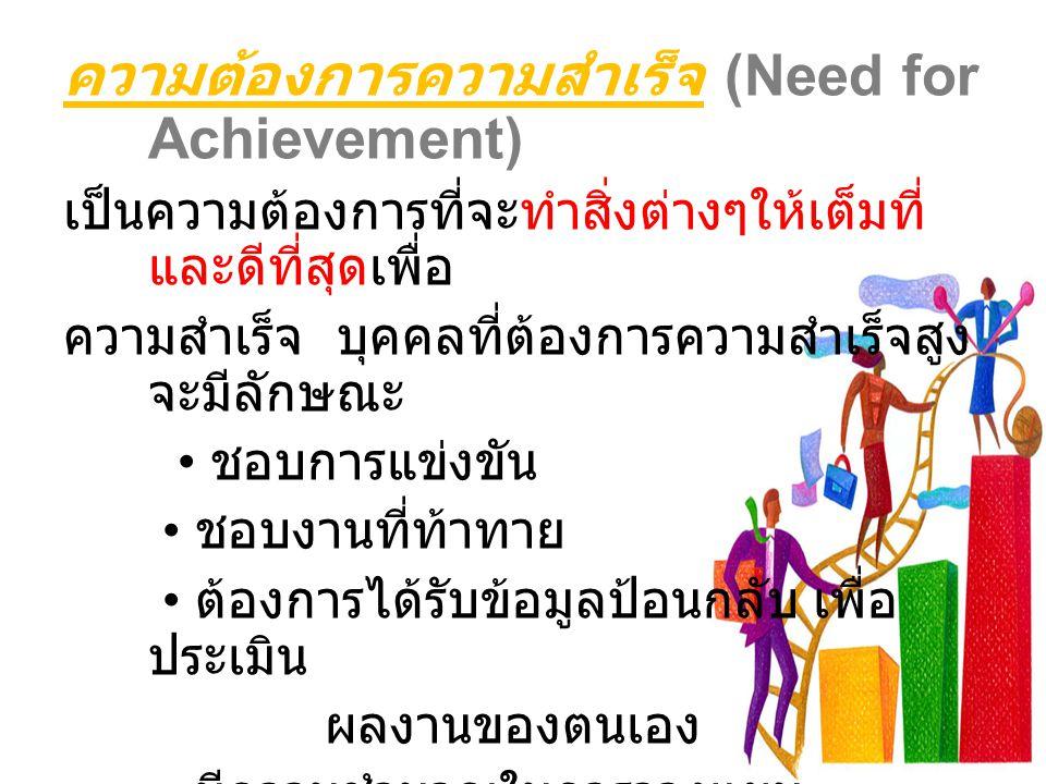 ความต้องการความสำเร็จ (Need for Achievement) เป็นความต้องการที่จะทำสิ่งต่างๆให้เต็มที่ และดีที่สุดเพื่อ ความสำเร็จ บุคคลที่ต้องการความสำเร็จสูง จะมีลั