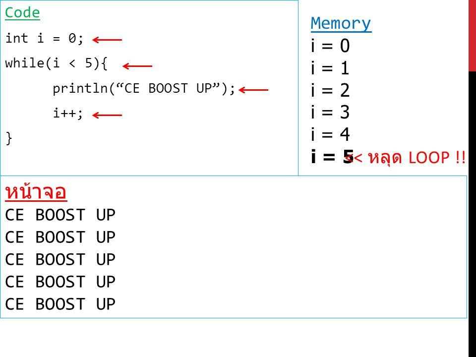 หรือ int i = 0; while(true){ if(i == 5) break; // เมื่อเจอคำสั่งนี้ จะออกจาก loop ทันที println( CE BOOST UP ); i++; }