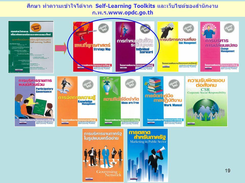 19 ศึกษา ทำความเข้าใจได้จาก Self-Learning Toolkits และเว็บไซต์ของสำนักงาน ก.พ.ร.www.opdc.go.th