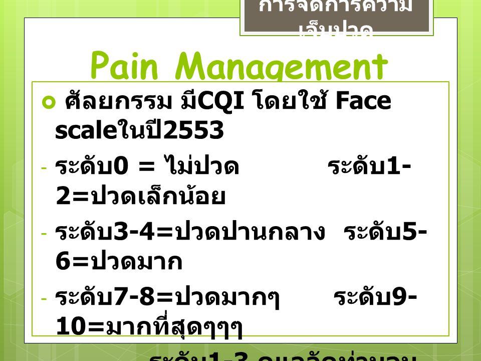 Pain Management การจัดการความ เจ็บปวด  ศัลยกรรม มี CQI โดยใช้ Face scale ในปี 2553 - ระดับ 0 = ไม่ปวด ระดับ 1- 2= ปวดเล็กน้อย - ระดับ 3-4= ปวดปานกลาง