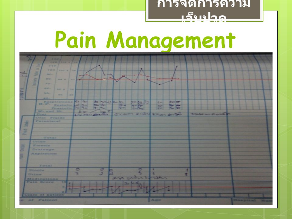 Pain Management การจัดการความ เจ็บปวด