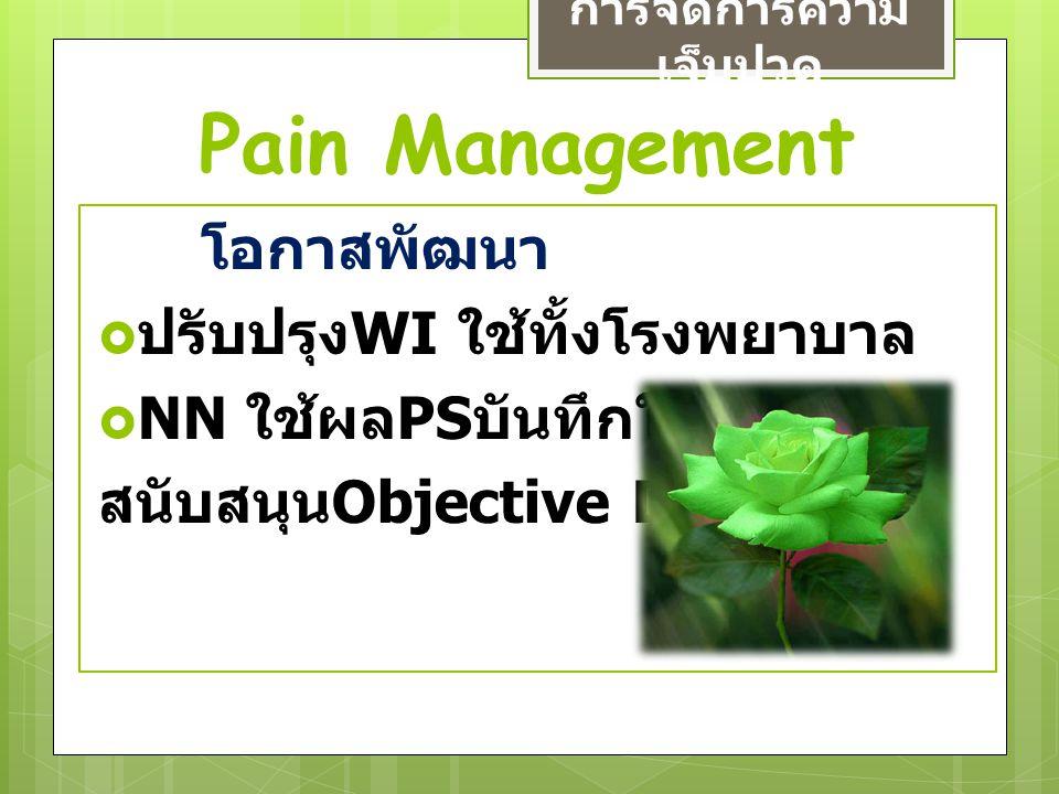 Pain Management การจัดการความ เจ็บปวด โอกาสพัฒนา  ปรับปรุง WI ใช้ทั้งโรงพยาบาล  NN ใช้ผล PS บันทึกในข้อมูล สนับสนุน Objective Data