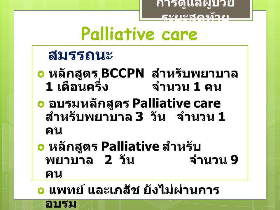 Palliative care การดูแลผู้ป่วย ระยะสุดท้าย สมรรถนะ  หลักสูตร BCCPN สำหรับพยาบาล 1 เดือนครึ่ง จำนวน 1 คน  อบรมหลักสูตร Palliative care สำหรับพยาบาล 3