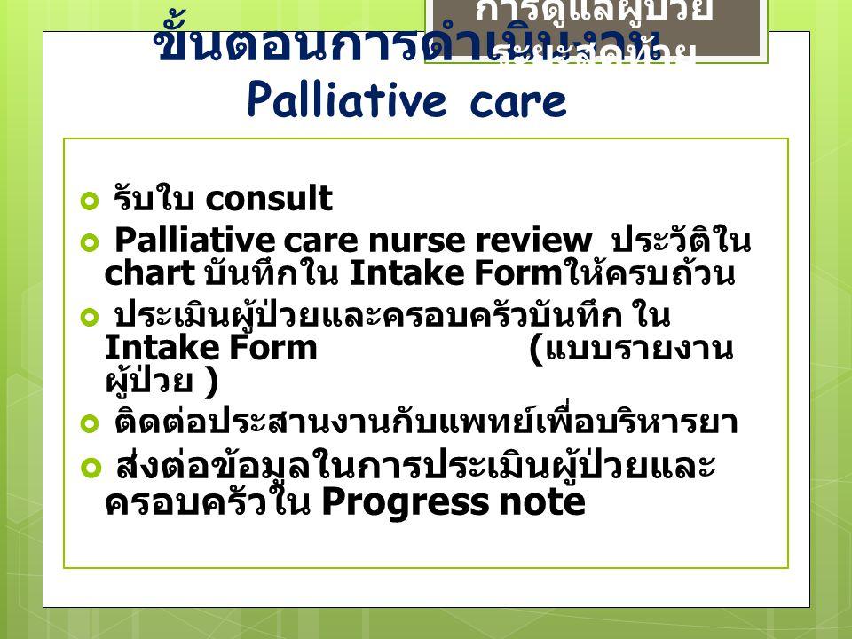 ขั้นตอนการดำเนินงาน Palliative care การดูแลผู้ป่วย ระยะสุดท้าย  รับใบ consult  Palliative care nurse review ประวัติใน chart บันทึกใน Intake Form ให้