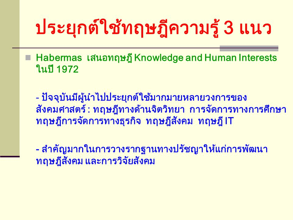 HABERMAS and POSTMODERNISM ทฤษฎีของ Habermas ถูกนักคิดจากสำนัก Postmodernism วิจารณ์อย่างหนัก : - LYOTARD : เป็นเพียงอภิมหานิยายอีกเรื่องหนึ่ง เท่านั้
