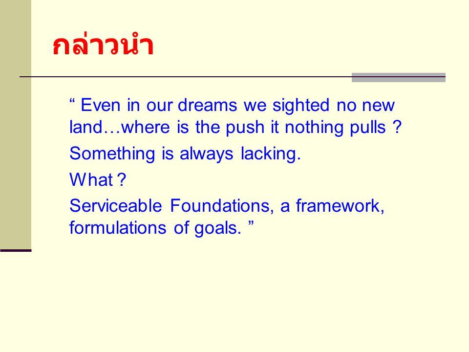 กล่าวนำ Even in our dreams we sighted no new land…where is the push it nothing pulls .