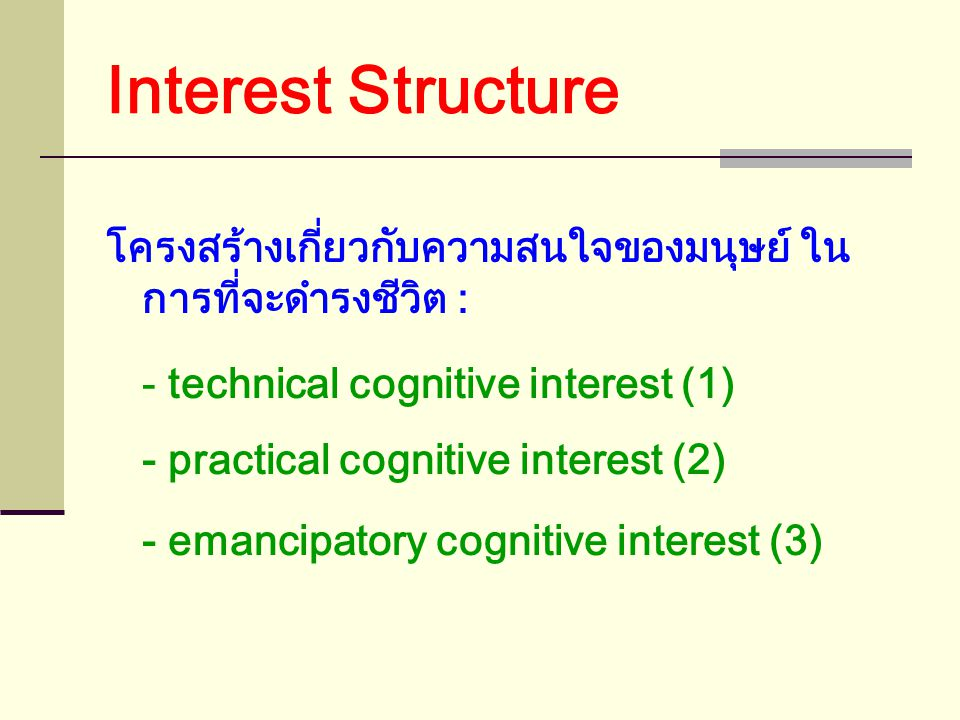 Interest Structure โครงสร้างเกี่ยวกับความสนใจของมนุษย์ ใน การที่จะดำรงชีวิต : - technical cognitive interest (1) - practical cognitive interest (2) - emancipatory cognitive interest (3)