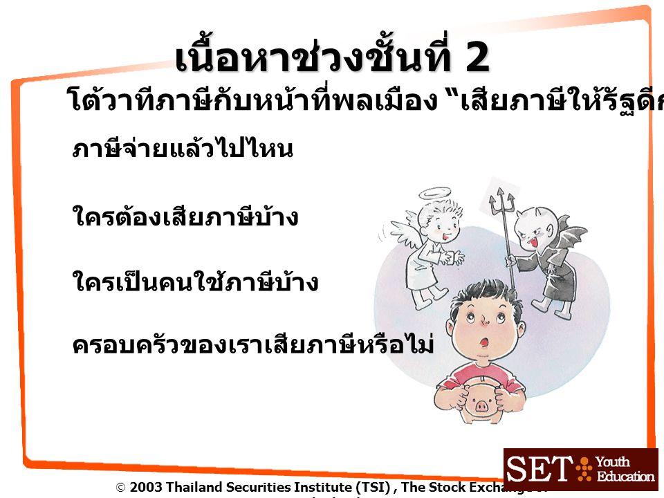 " 2003 Thailand Securities Institute (TSI), The Stock Exchange of Thailand เนื้อหาช่วงชั้นที่ 2 โต้วาทีภาษีกับหน้าที่พลเมือง "" เสียภาษีให้รัฐดีกว่าเก็"