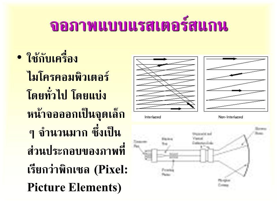 จอภาพแบบแรสเตอร์สแกน ใช้กับเครื่อง ไมโครคอมพิวเตอร์ โดยทั่วไป โดยแบ่ง หน้าจอออกเป็นจุดเล็ก ๆ จำนวนมาก ซึ่งเป็น ส่วนประกอบของภาพที่ เรียกว่าพิกเซล (Pixel: Picture Elements)