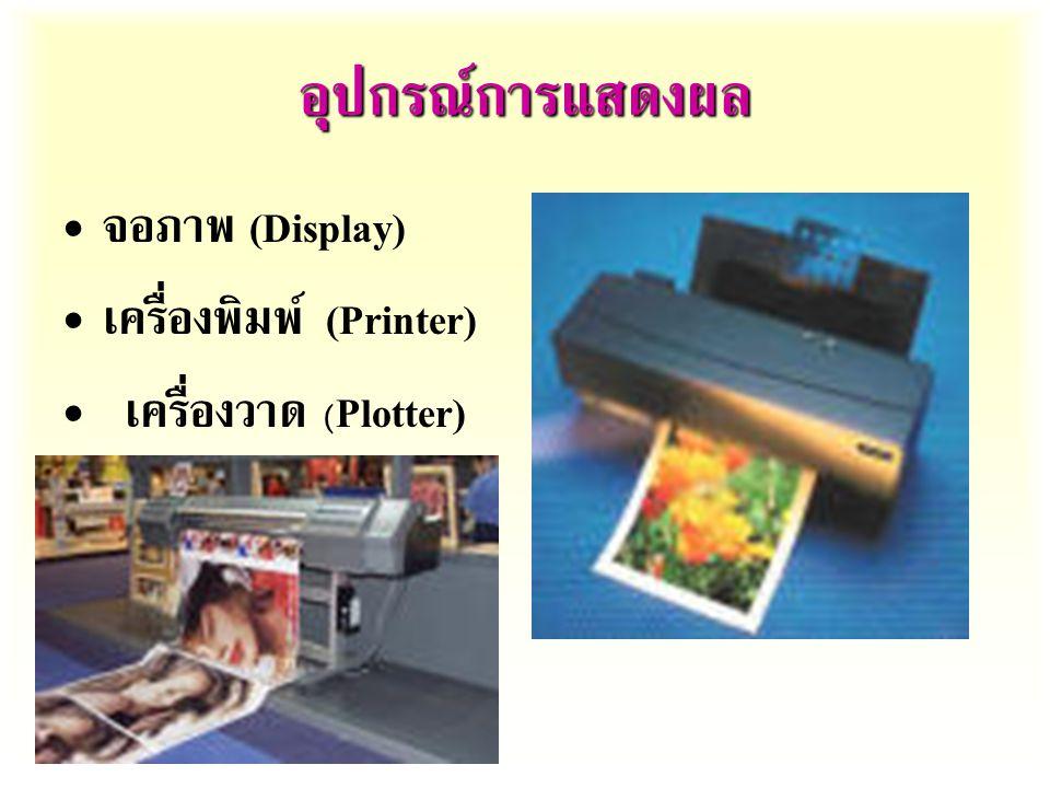 อุปกรณ์การแสดงผล จอภาพ  (Display) เครื่องพิมพ์  (Printer)  เครื่องวาด  (Plotter)