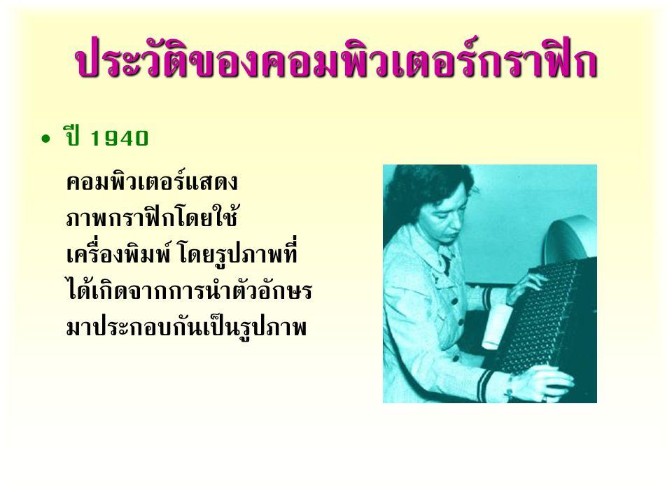 ประวัติของคอมพิวเตอร์กราฟิก ปี  คอมพิวเตอร์แสดง ภาพกราฟิกโดยใช้ เครื่องพิมพ์  โดยรูปภาพที่ ได้เกิดจากการนำตัวอักษร มาประกอบกันเป็นรูปภาพ