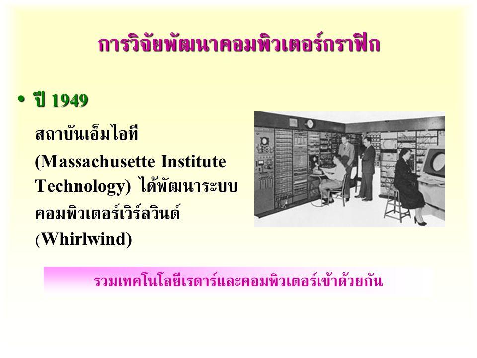การวิจัยพัฒนาคอมพิวเตอร์กราฟิก ปี 1949 ปี 1949 สถาบันเอ็มไอที (Massachusette Institute Technology) ได้พัฒนาระบบ คอมพิวเตอร์เวิร์ลวินด์ (Whirlwind) รวมเทคโนโลยีเรดาร์และคอมพิวเตอร์เข้าด้วยกัน