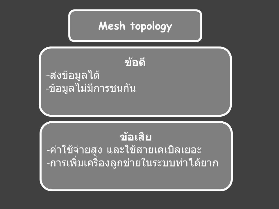 Mesh topology ข้อดี - ส่งข้อมูลได้ - ข้อมูลไม่มีการชนกัน ข้อเสีย - ค่าใช้จ่ายสูง และใช้สายเคเบิลเยอะ - การเพิ่มเครื่องลูกข่ายในระบบทำได้ยาก
