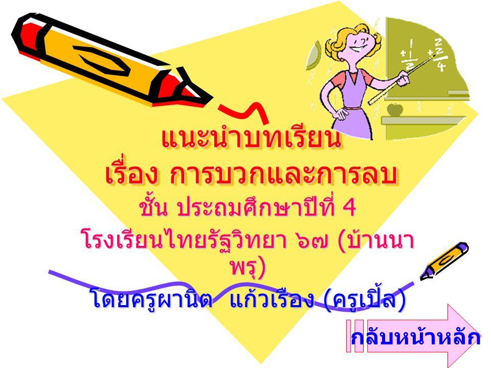 แนะนำบทเรียน เรื่อง การบวกและการลบ ชั้น ประถมศึกษาปีที่ 4 โรงเรียนไทยรัฐวิทยา ๖๗ ( บ้านนา พรุ ) โดยครูผานิต แก้วเรือง ( ครูเปิ้ล ) กลับหน้าหลัก