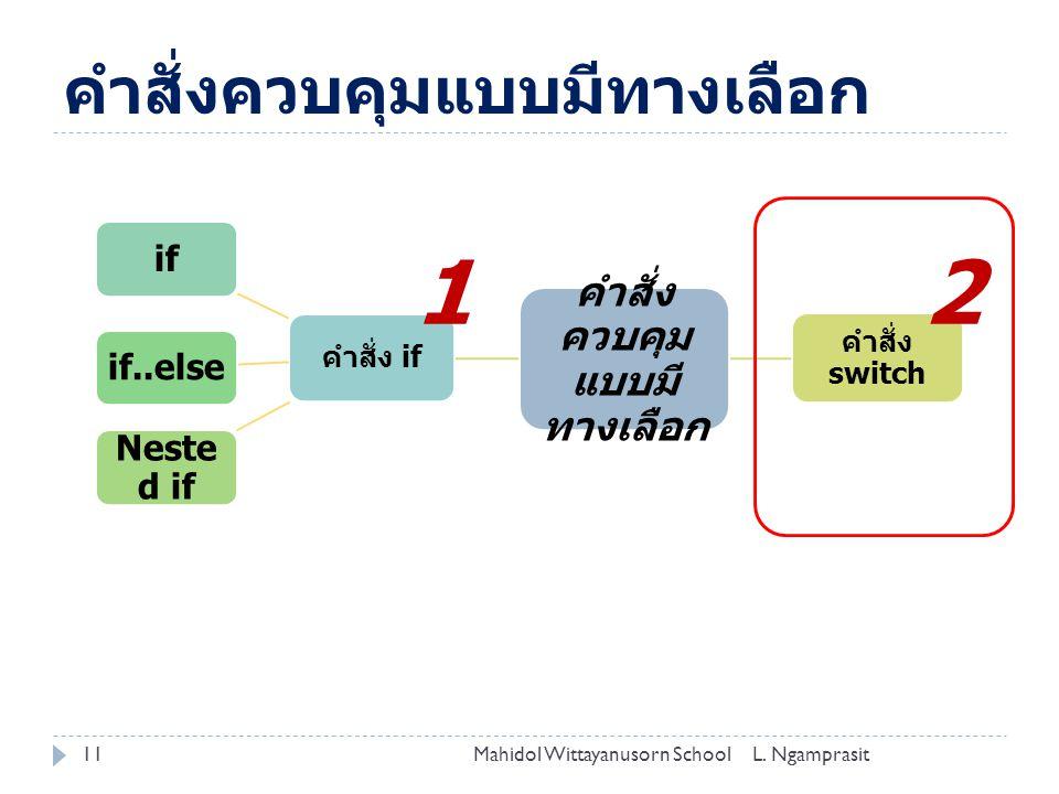 คำสั่งควบคุมแบบมีทางเลือก 11L. NgamprasitMahidol Wittayanusorn School คำสั่ง ควบคุม แบบมี ทางเลือก คำสั่ง if ifif..else Neste d if คำสั่ง switch 12