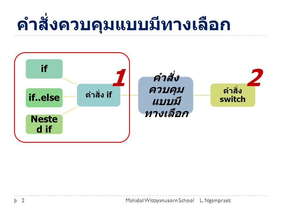 คำสั่งควบคุมแบบมีทางเลือก 2L. NgamprasitMahidol Wittayanusorn School คำสั่ง ควบคุม แบบมี ทางเลือก คำสั่ง if ifif..else Neste d if คำสั่ง switch 12