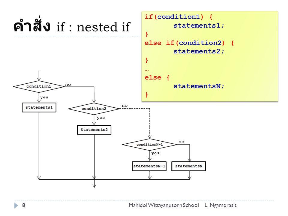 คำสั่ง if : nested if 8L. NgamprasitMahidol Wittayanusorn School if(condition1) { statements1; } else if(condition2) { statements2; } … else { stateme