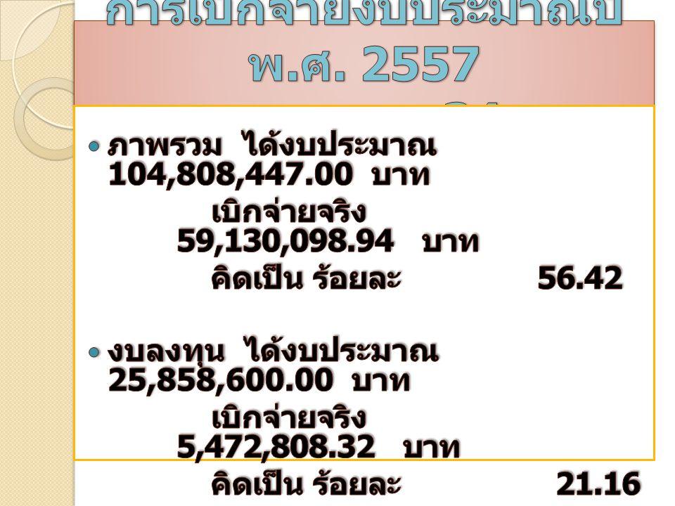 มาตรการเพิ่มประสิทธิภาพการใช้ จ่ายงบประมาณ ประจำปีงบประมาณ พ. ศ. 2557