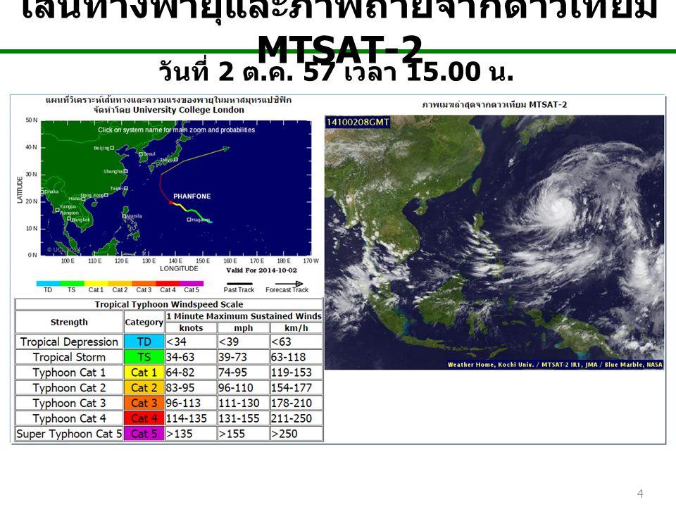 4 เส้นทางพายุและภาพถ่ายจากดาวเทียม MTSAT-2 วันที่ 2 ต. ค. 57 เวลา 15.00 น.