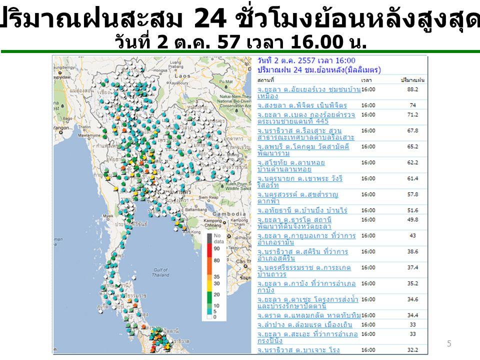 แผนภาพปริมาณฝนสะสม ระหว่างวันที่ 1-14 ต.ค. 53 แผนภาพปริมาณฝนสะสม ช่วงวันที่ 1-7 ต.
