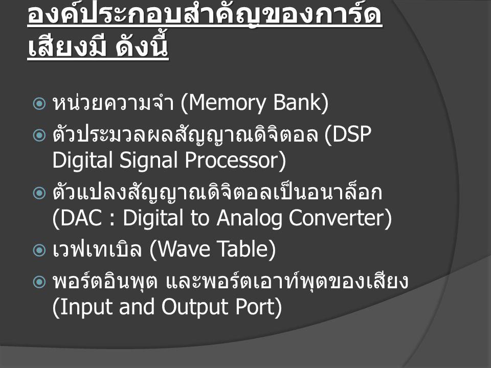 องค์ประกอบสำคัญของการ์ด เสียงมี ดังนี้  หน่วยความจำ (Memory Bank)  ตัวประมวลผลสัญญาณดิจิตอล (DSP Digital Signal Processor)  ตัวแปลงสัญญาณดิจิตอลเป็นอนาล็อก (DAC : Digital to Analog Converter)  เวฟเทเบิล (Wave Table)  พอร์ตอินพุต และพอร์ตเอาท์พุตของเสียง (Input and Output Port)