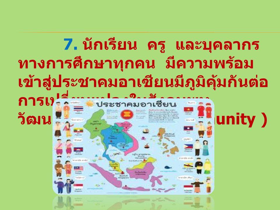7. นักเรียน ครู และบุคลากร ทางการศึกษาทุกคน มีความพร้อม เข้าสู่ประชาคมอาเซียนมีภูมิคุ้มกันต่อ การเปลี่ยนแปลงในสังคมพหุ วัฒนธรรม (ASEAN Community )
