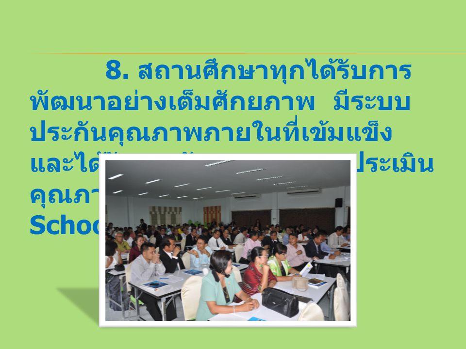 8. สถานศึกษาทุกได้รับการ พัฒนาอย่างเต็มศักยภาพ มีระบบ ประกันคุณภาพภายในที่เข้มแข็ง และได้รับการรับรองจากการประเมิน คุณภาพภายนอก (Quality Schools)