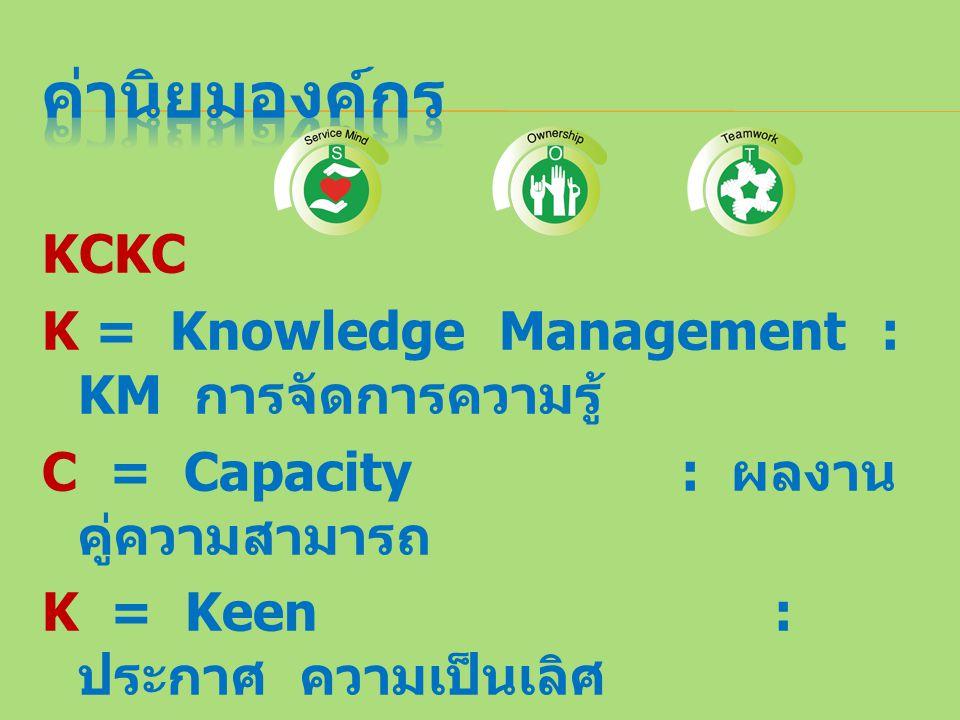 "KCKC K = Knowledge Management : KM การจัดการความรู้ C = Capacity : ผลงาน คู่ความสามารถ K = Keen : ประกาศ ความเป็นเลิศ C = Chief : ชูเชิด สร้างผู้นำ """