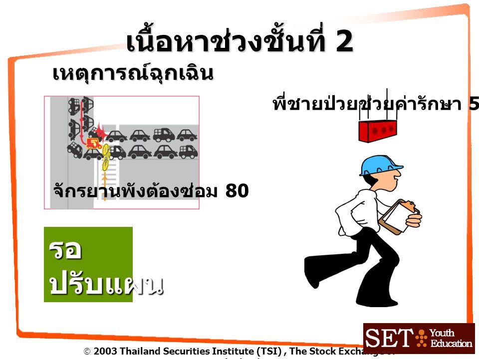  2003 Thailand Securities Institute (TSI), The Stock Exchange of Thailand เนื้อหาช่วงชั้นที่ 2 เหตุการณ์ฉุกเฉิน จักรยานพังต้องซ่อม 80 พี่ชายป่วยช่วยค่ารักษา 500 รอปรับแผน