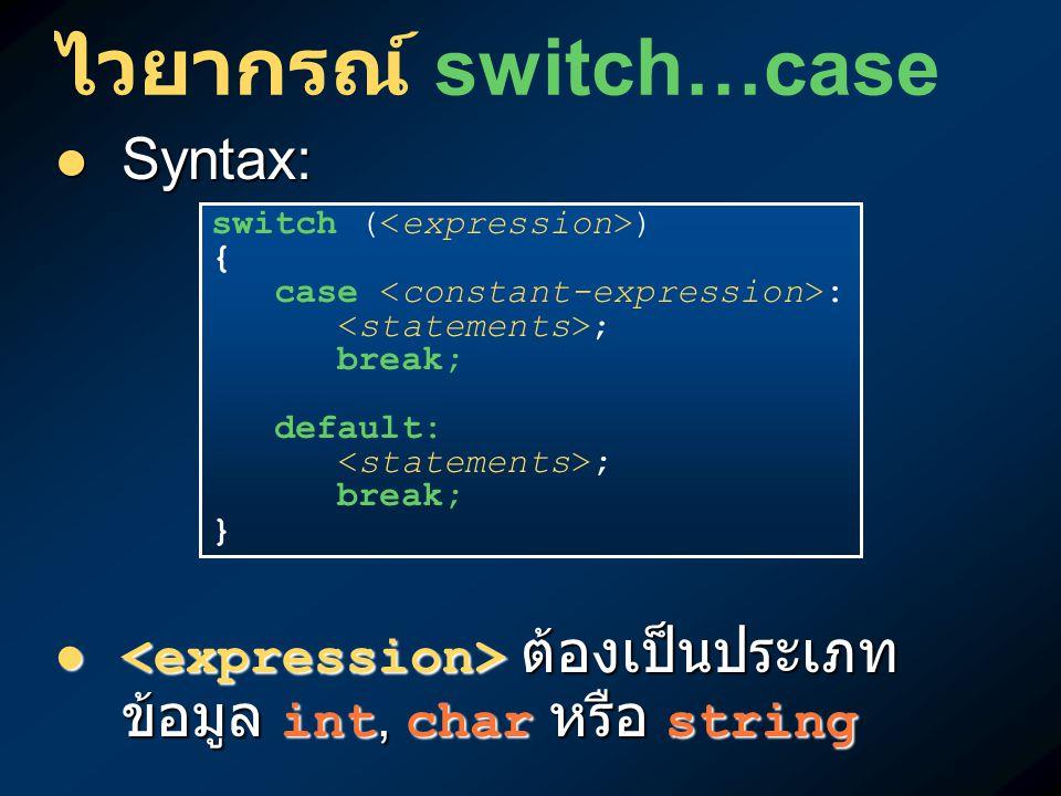 ไวยากรณ์ switch…case Syntax: Syntax: ต้องเป็นประเภท ข้อมูล int, char หรือ string ต้องเป็นประเภท ข้อมูล int, char หรือ string switch ( ) { case : ; bre