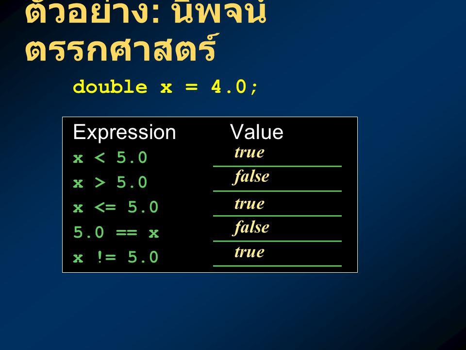 ตัวอย่าง : นิพจน์ ตรรกศาสตร์ double x = 4.0; Expression Value x < 5.0 ___________ x > 5.0 ___________ x <= 5.0 ___________ 5.0 == x ___________ x != 5