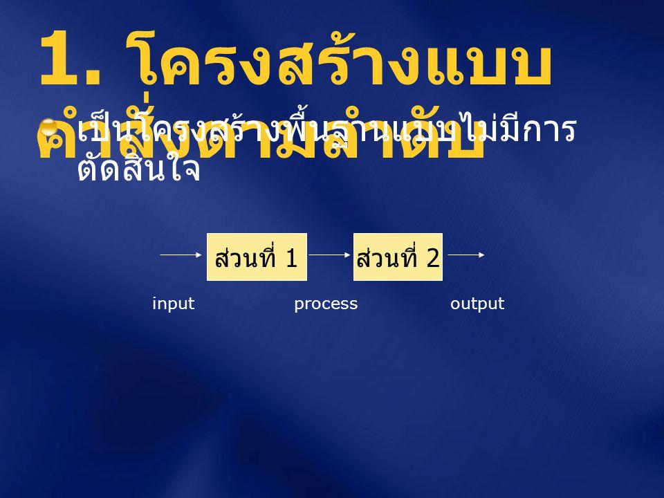มีการทดสอบค่าตัวแปรเพื่อการ ตัดสินใจว่าจะทำการ ประมวลผล ส่วนใด โครงสร้างแบบมี การตัดสินใจ x ส่วนที่ 1 ส่วนที่ 2 input output จริง เท็จ