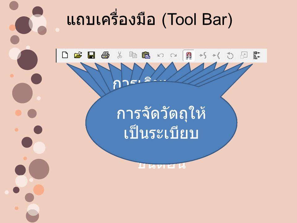 แถบเครื่องมือ (Tool Bar) การเริ่มสร้าง งานใหม่ การเปิดไฟล์ งานเดิม การบันทึกไฟล์ งาน การสั่งพิมพ์ งาน การตัดหรือลบ วัตถุออก เพื่อ จะนำไปวางที่ อื่น การคัดลอด วัตถุ เพื่อจะ นำไปวางที่อื่น การวางวัตถุที่ ได้ Cut หรือ Copy มาวาง การย้อนกลับ ไป 1 ขั้นตอน การเดินหน้าไป 1 ขั้นตอน ใช้ เมื่อมีการ ย้อนหลังไป 1 ขั้นตอน การสั่งให้วัตถุ ดึงดูดเมื่อเข้า ใกล้กัน การสั่งให้วัตถุมี ความโค้งมน การทำให้วัตถุ ดูแข็ง การหมุนวัตถุ การขยายและ ย่อวัตถุ การจัดวัตถุให้ เป็นระเบียบ