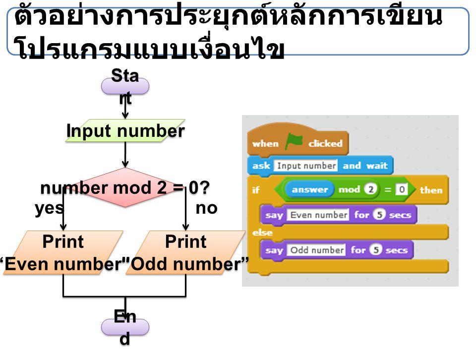 """ตัวอย่างการประยุกต์หลักการเขียน โปรแกรมแบบเงื่อนไข Sta rt En d Input number Print """"Odd number"""" Print """"Odd number"""" number mod 2 = 0? Print """"Even number"""