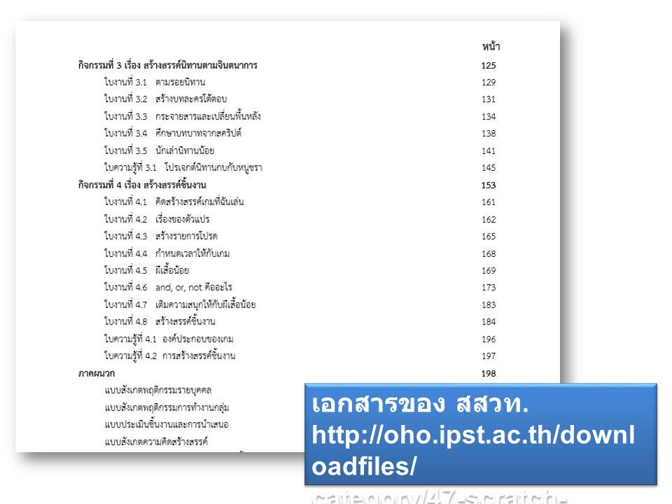 เอกสารของ สสวท. http://oho.ipst.ac.th/downl oadfiles/ category/47-scratch- creative-thinking เอกสารของ สสวท. http://oho.ipst.ac.th/downl oadfiles/ cat