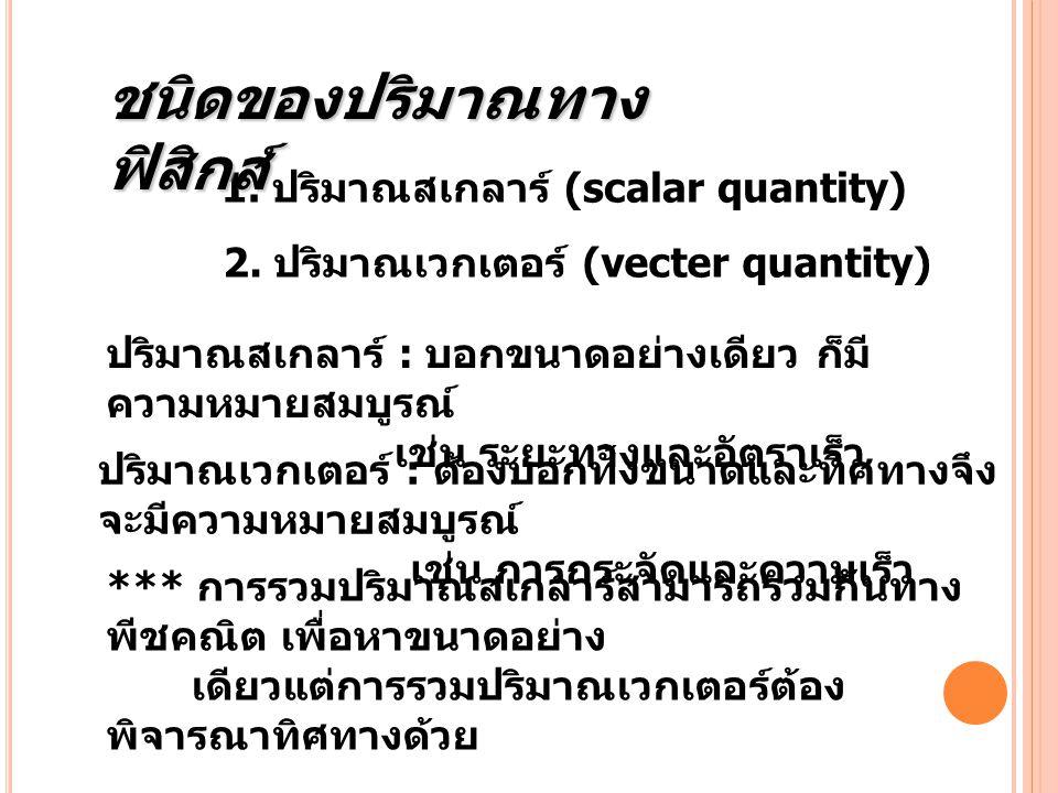 1. ปริมาณสเกลาร์ (scalar quantity) ปริมาณสเกลาร์ : บอกขนาดอย่างเดียว ก็มี ความหมายสมบูรณ์ เช่น ระยะทางและอัตราเร็ว 2. ปริมาณเวกเตอร์ (vecter quantity)