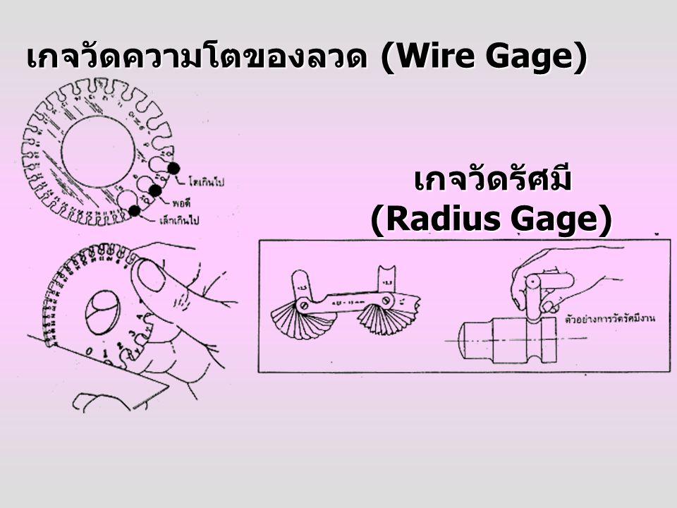 เกจวัดความโตของลวด (Wire Gage) เกจวัดรัศมี (Radius Gage) (Radius Gage)