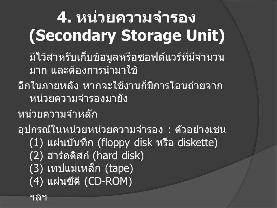 4. หน่วยความจำรอง (Secondary Storage Unit) มีไว้สำหรับเก็บข้อมูลหรือซอฟต์แวร์ที่มีจำนวน มาก และต้องการนำมาใช้ อีกในภายหลัง หากจะใช้งานก็มีการโอนถ่ายจา