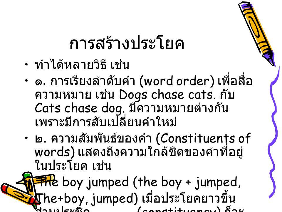 การสร้างประโยค ทำได้หลายวิธี เช่น ๑. การเรียงลำดับคำ (word order) เพื่อสื่อ ความหมาย เช่น Dogs chase cats. กับ Cats chase dog. มีความหมายต่างกัน เพราะ