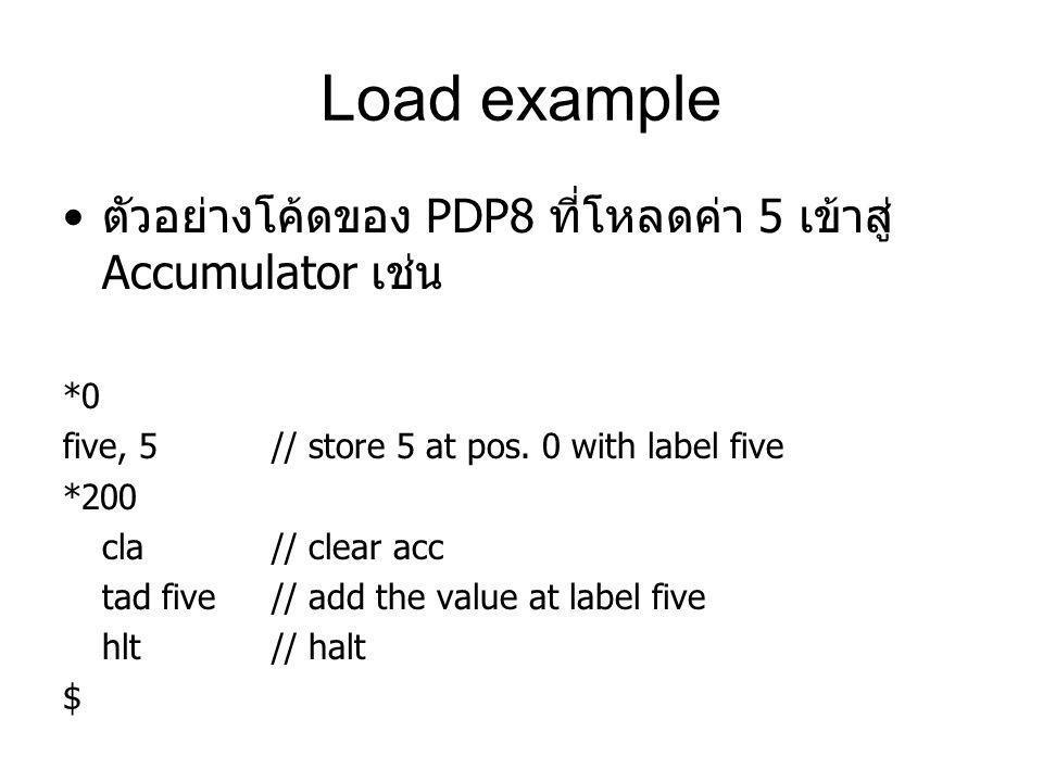 Load example ตัวอย่างโค้ดของ PDP8 ที่โหลดค่า 5 เข้าสู่ Accumulator เช่น *0 five, 5 // store 5 at pos. 0 with label five *200 cla // clear acc tad five