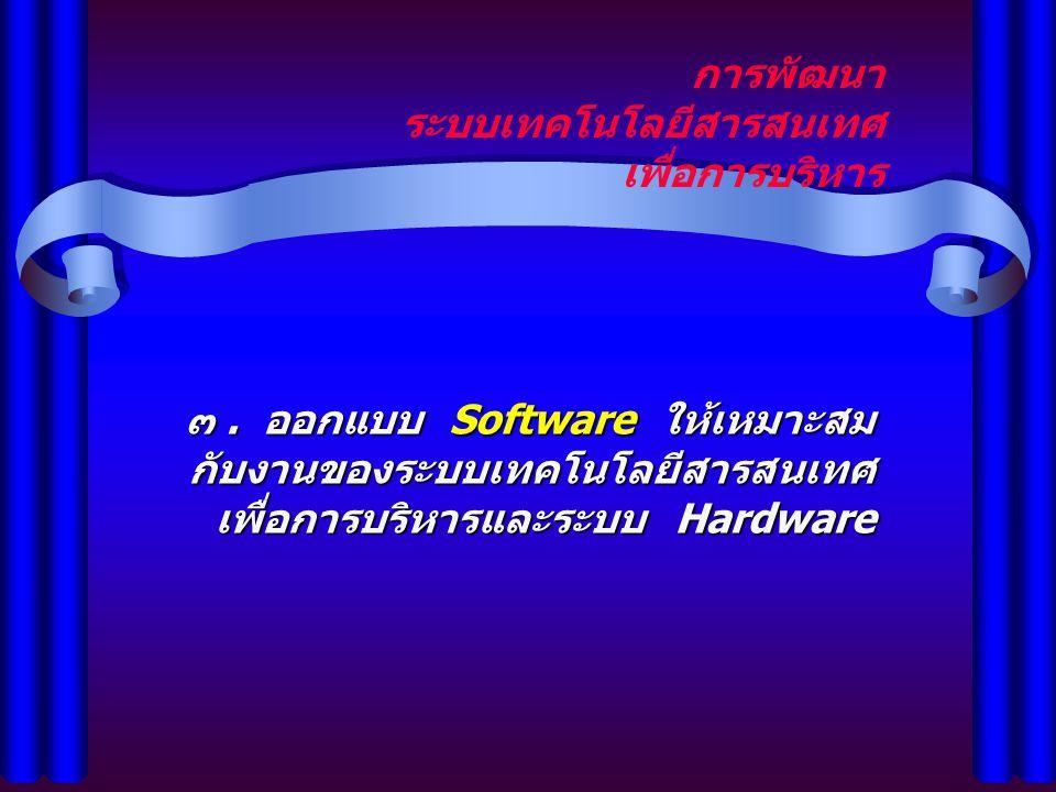 การพัฒนา ระบบเทคโนโลยีสารสนเทศ เพื่อการบริหาร ๓. ออกแบบ Software ให้เหมาะสม กับงานของระบบเทคโนโลยีสารสนเทศ เพื่อการบริหารและระบบ Hardware
