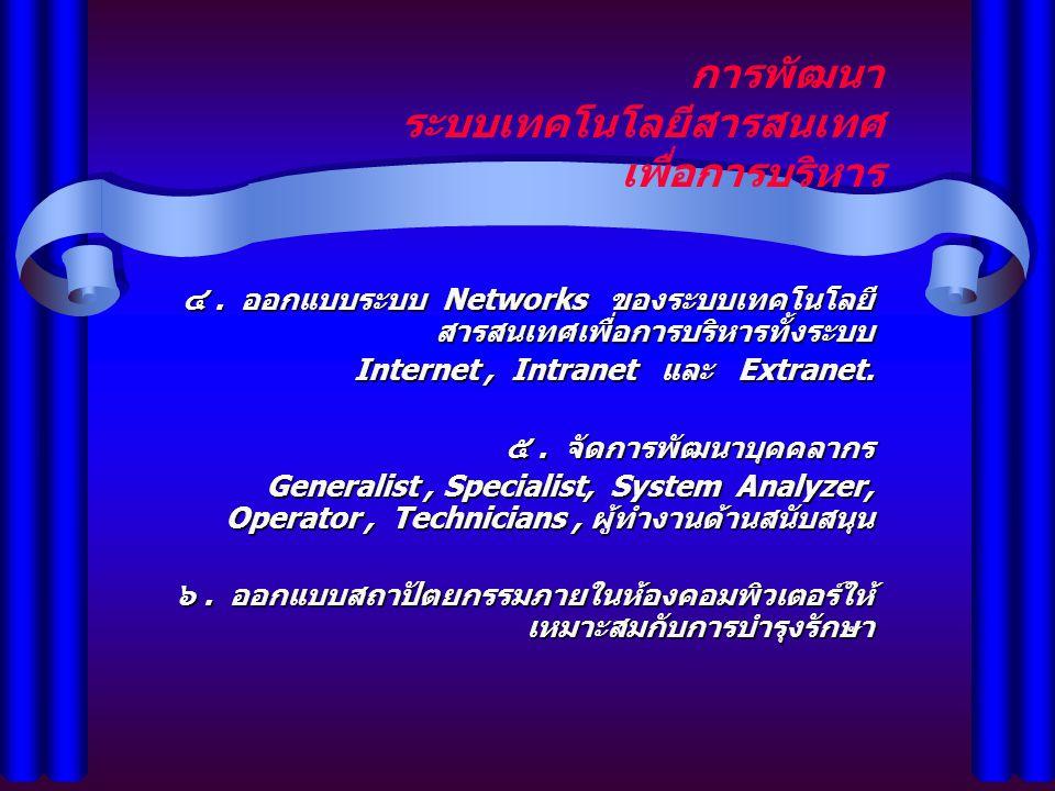 การพัฒนา ระบบเทคโนโลยีสารสนเทศ เพื่อการบริหาร ๔. ออกแบบระบบ Networks ของระบบเทคโนโลยี สารสนเทศเพื่อการบริหารทั้งระบบ Internet, Intranet และ Extranet.
