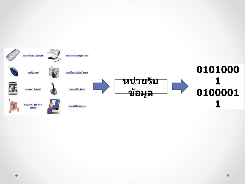 หน่วยประมวลผลกลาง 11011001 01101001 หน่วย ประมวลผล กลาง หน่วยควบคุม หน่วยคำนวณ และตรรกะ เข้าถึงข้อมูล คัดแยกคำสั่ง ตีความ เลือกข้อมูล และกำหนดตำแหน่ง ของคำสั่ง ปฏิบัติตามคำสั่ง คำนวณและ เปรียบเทียบข้อมูล 11011001 01101001 01010001 01000011