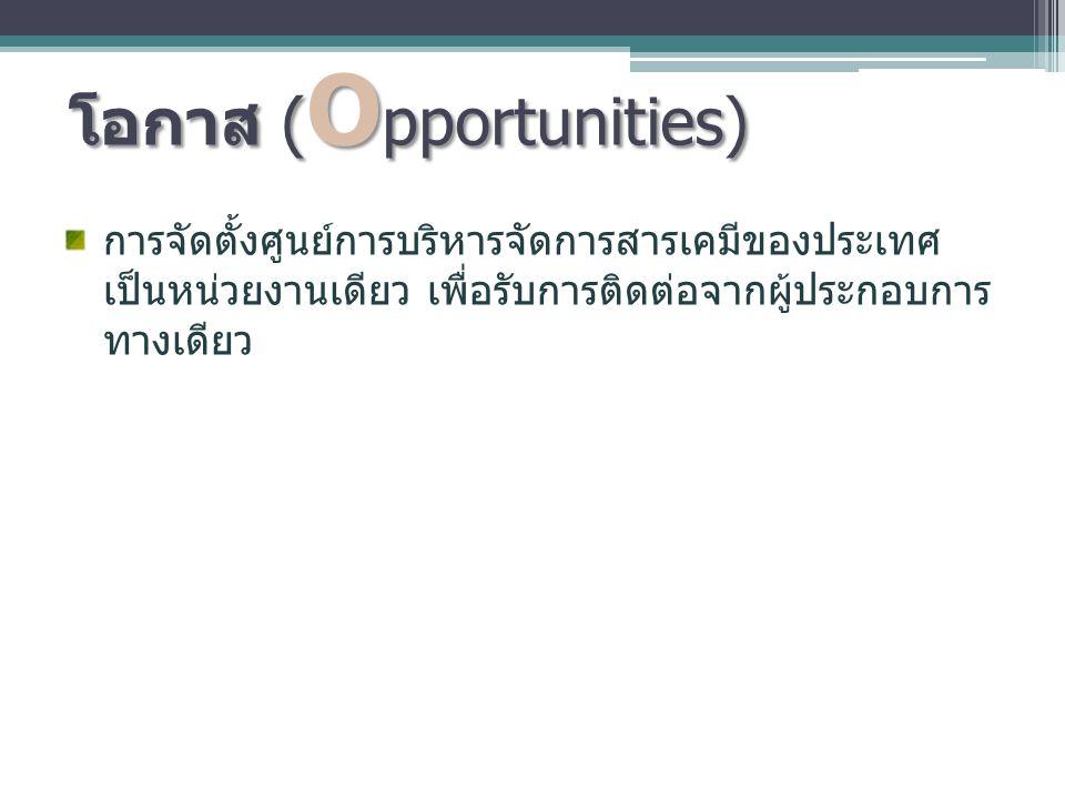 การจัดตั้งศูนย์การบริหารจัดการสารเคมีของประเทศ เป็นหน่วยงานเดียว เพื่อรับการติดต่อจากผู้ประกอบการ ทางเดียว โอกาส ( O pportunities)