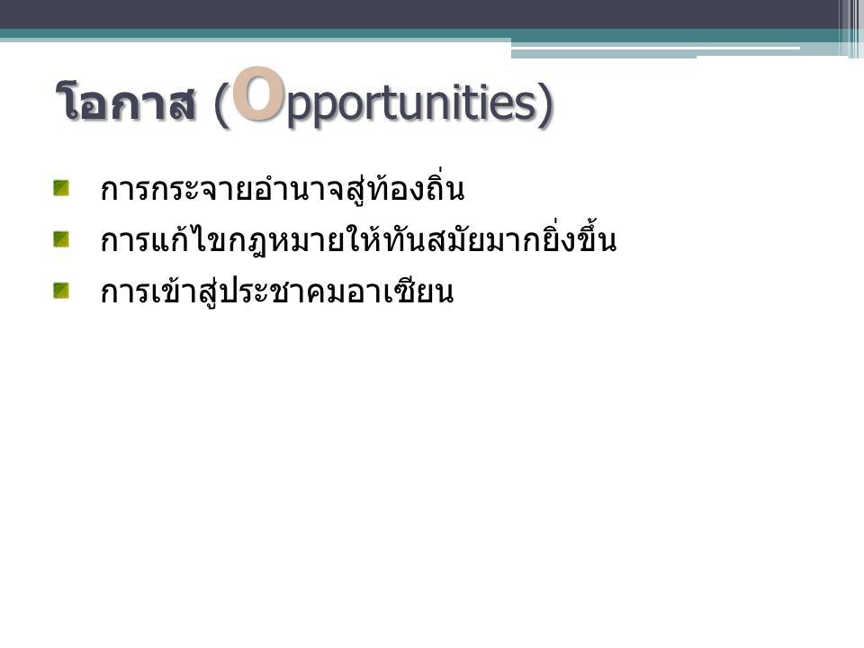 โอกาส ( O pportunities) การกระจายอำนาจสู่ท้องถิ่น การแก้ไขกฎหมายให้ทันสมัยมากยิ่งขึ้น การเข้าสู่ประชาคมอาเซียน