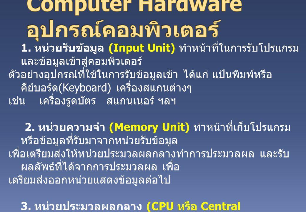 1. หน่วยรับข้อมูล (Input Unit) ทำหน้าที่ในการรับโปรแกรม และข้อมูลเข้าสู่คอมพิวเตอร์ ตัวอย่างอุปกรณ์ที่ใช้ในการรับข้อมูลเข้า ได้แก่ แป้นพิมพ์หรือ คีย์บ
