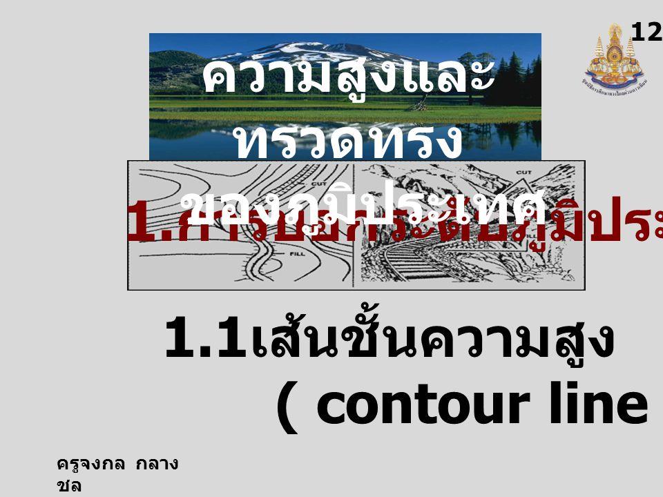 ครูจงกล กลาง ชล 12 1.1 เส้นชั้นความสูง ( contour line ) 1. การบอกระดับภูมิประเทศ ความสูงและ ทรวดทรง ของภูมิประเทศ