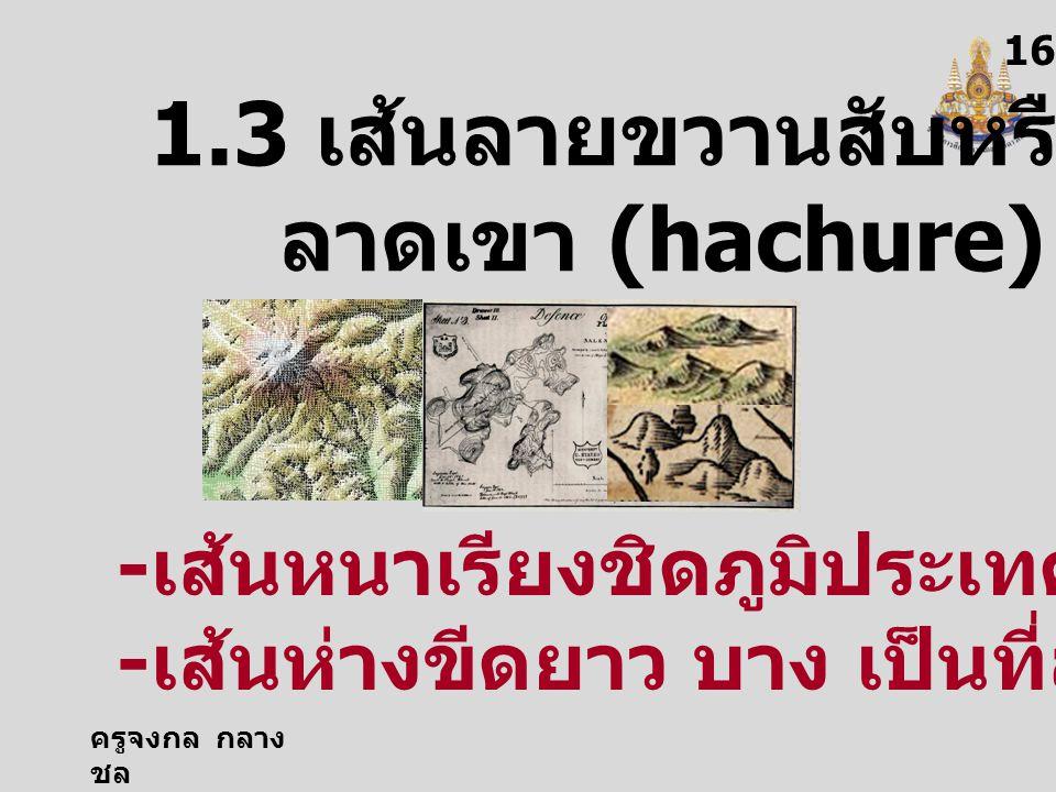 ครูจงกล กลาง ชล 1616 1.3 เส้นลายขวานสับหรือเส้น ลาดเขา (hachure) - เส้นหนาเรียงชิดภูมิประเทศสูงชัน - เส้นห่างขีดยาว บาง เป็นที่ลาด